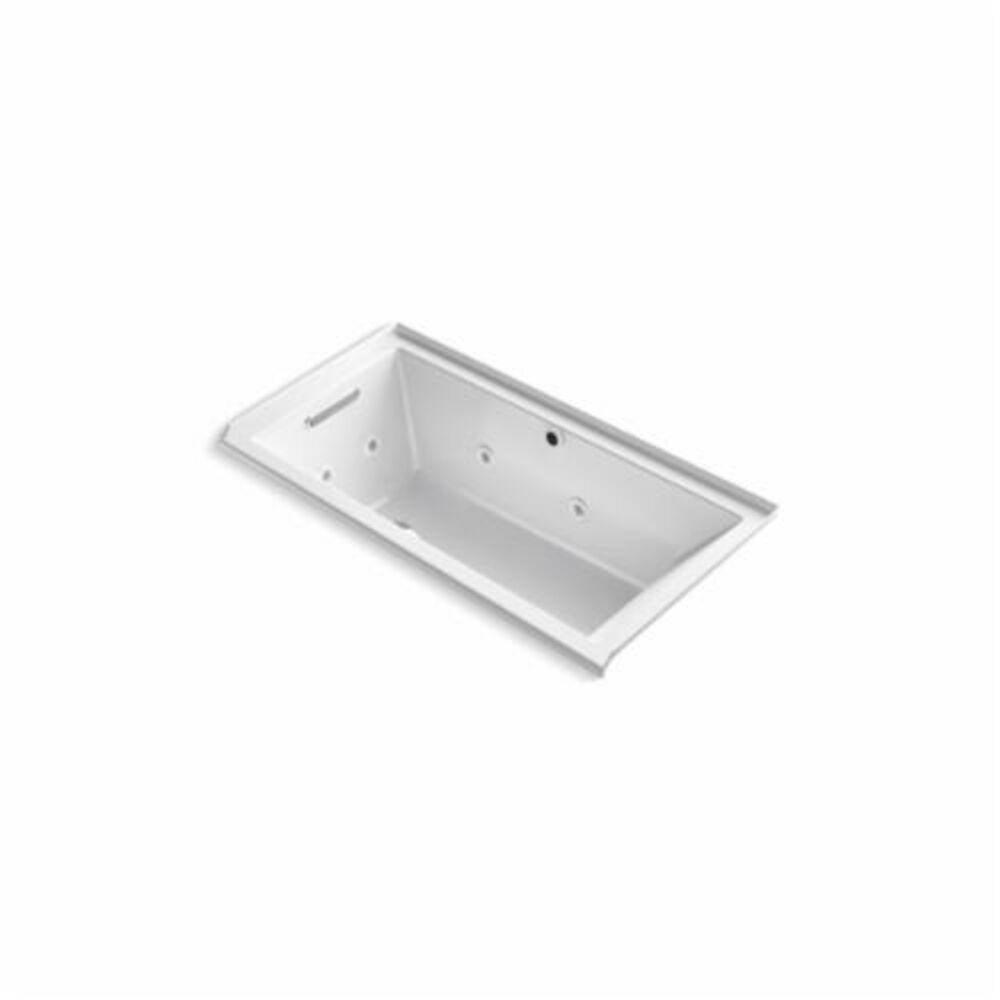 Kohler® 1167-XH2GL-0 Underscore® Bathtub With Integral Flange, BubbleMassage™ / Whirlpool, Rectangular, 60 in L x 30 in W, Left Hand Drain, White