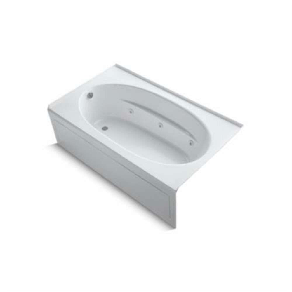 Kohler® 1114-LA-0 Windward® Bathtub With Integral Front Apron, Whirlpool, Oval, 72 in L x 42 in W, Left Drain, White