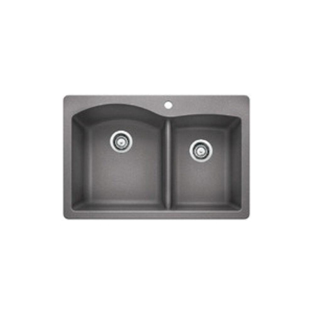Blanco 440214 DIAMOND™ SILGRANIT® 1-3/4 Bowl Dual Mount Kitchen Sink, D-Shape, 1 Faucet Hole, 33 in Wx22 in H, Drop-In/Under Mount, Granite, Metallic Gray, Import