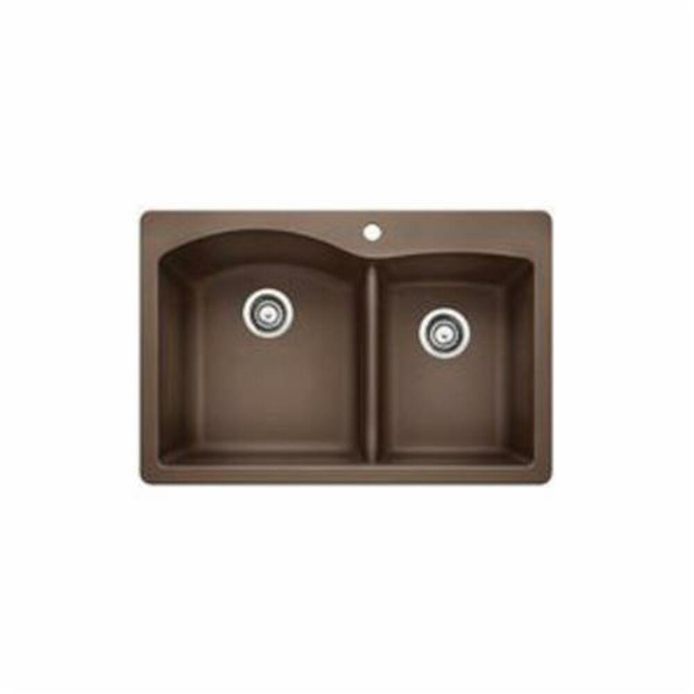 Blanco 440213 DIAMOND™ SILGRANIT® II Kitchen Sink, Rectangular, 1 Faucet Hole, 33 in Wx22 in D, Drop-In Mount, Granite, Cafe Brown, Import