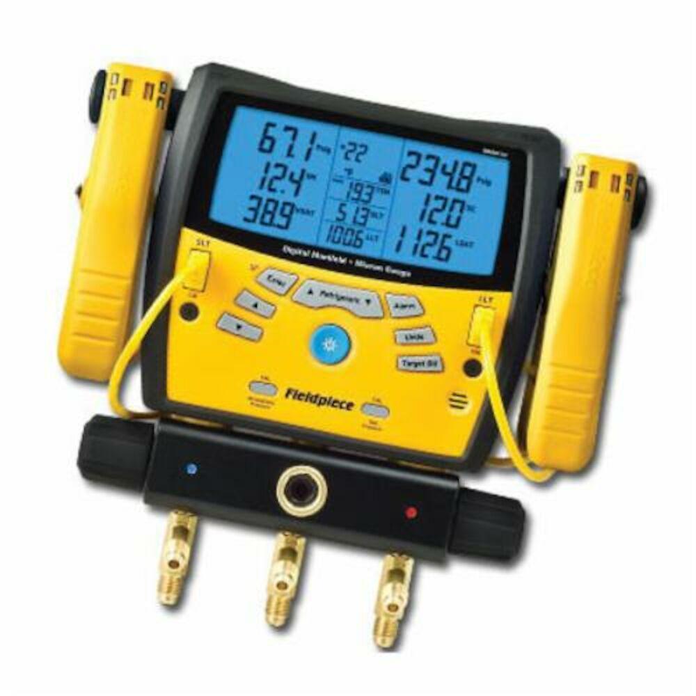 Fieldpiece SMAN360 3-Port Digital Manifold and Micron Gauge, 5 in Blue Backlight Display