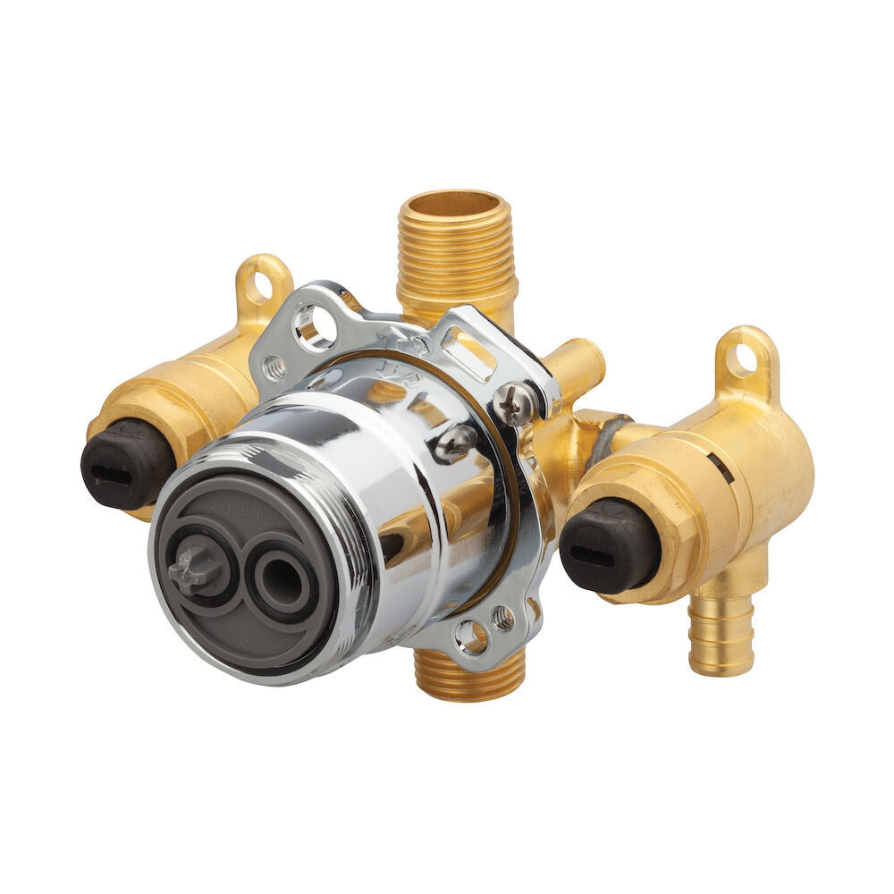 Gerber® G00GS525S Vertical Input Tub and Shower Valve With Quarter-Turn Service Stops, Hand Shower: No