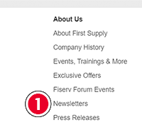 Footer Newsletters link