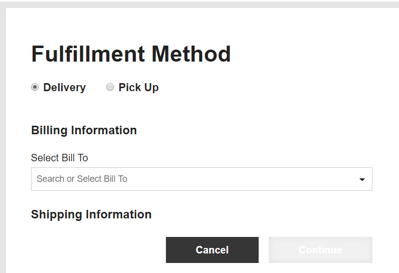 Fulfillment Method options