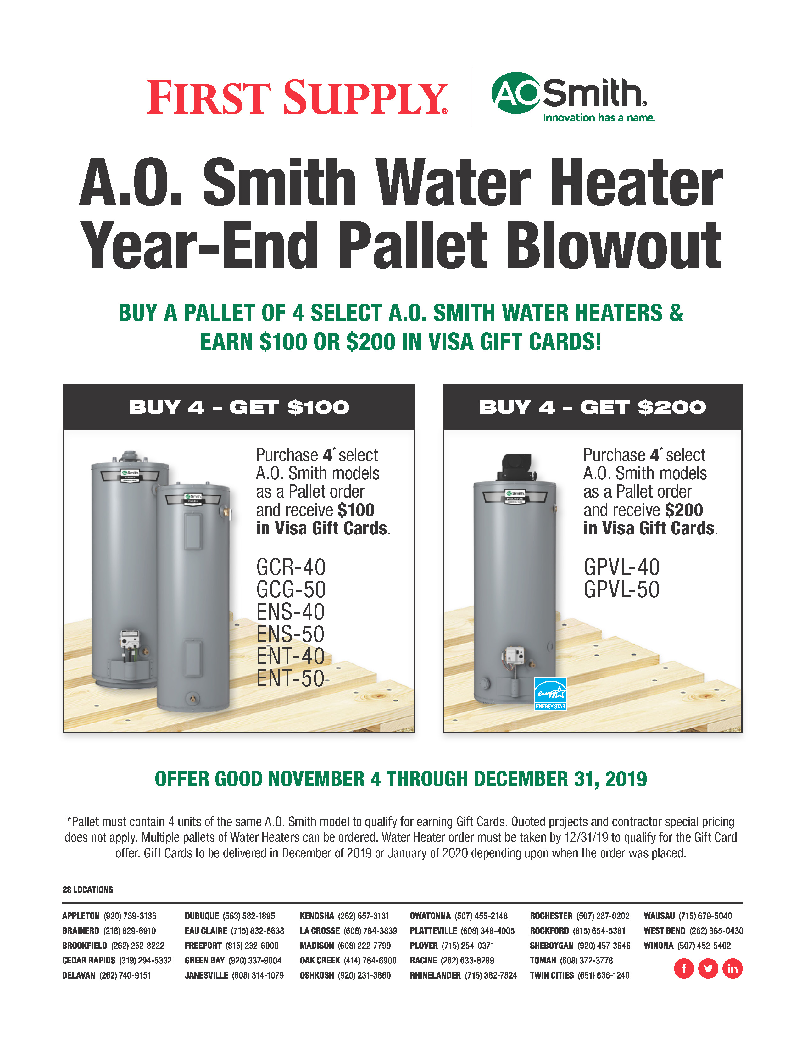 A.O. Smith Pallet Offer